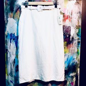 NWT Vintage Evan Picone white midi skirt with belt